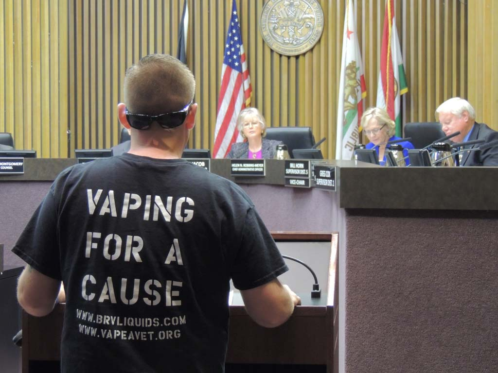 Colin Apodac spoke against the electronic smoking bans before the Board of Supervisors. Representing the Vape a Vet Project, Apodac works with active duty military and veterans to quit smoking by using e-cigarettes to gradually reduce their nicotine intake. Photo by Rachel Stine