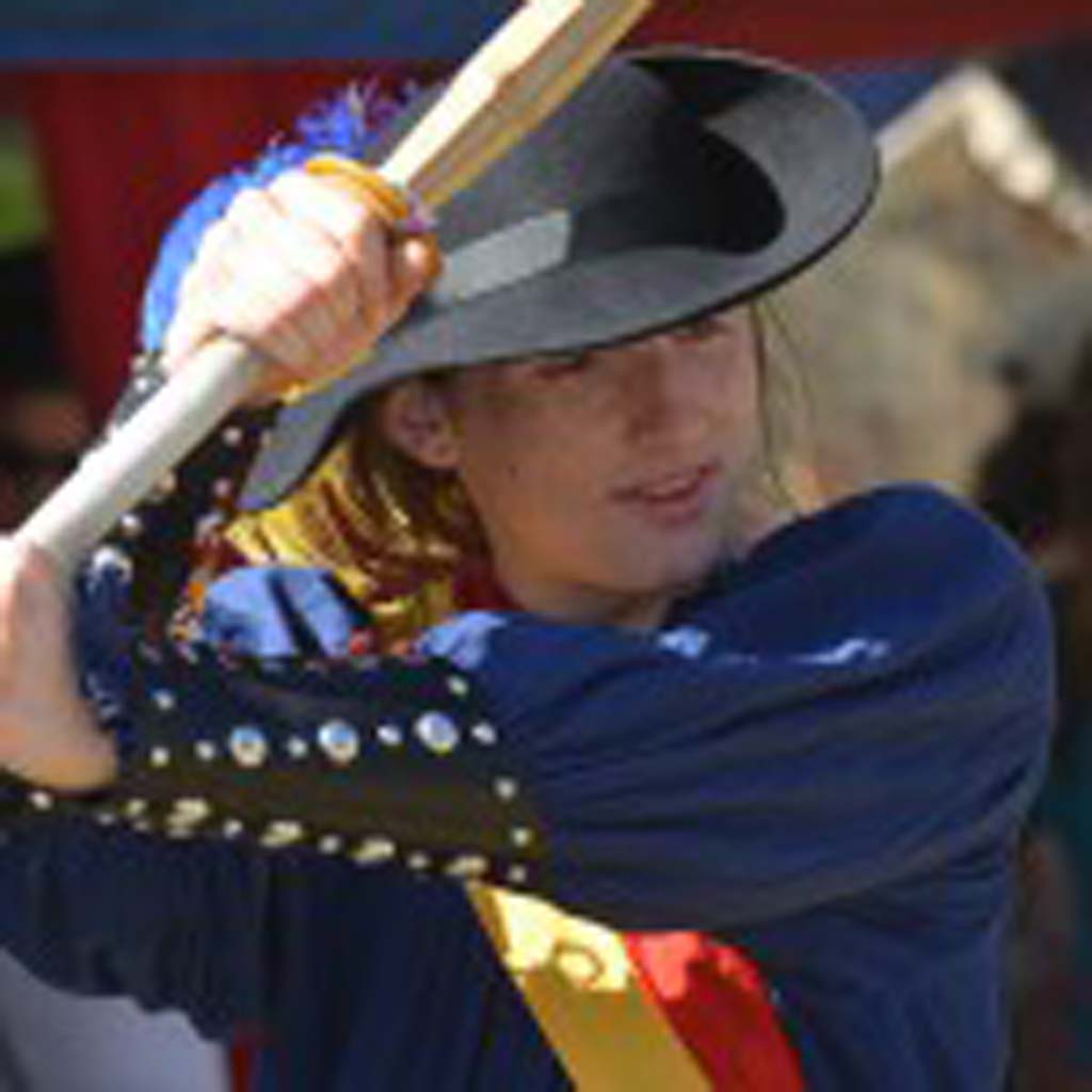 Visitors have the chance to learn some medieval fighting skills at the Renaissance Faire. Photo by Tony Cagala