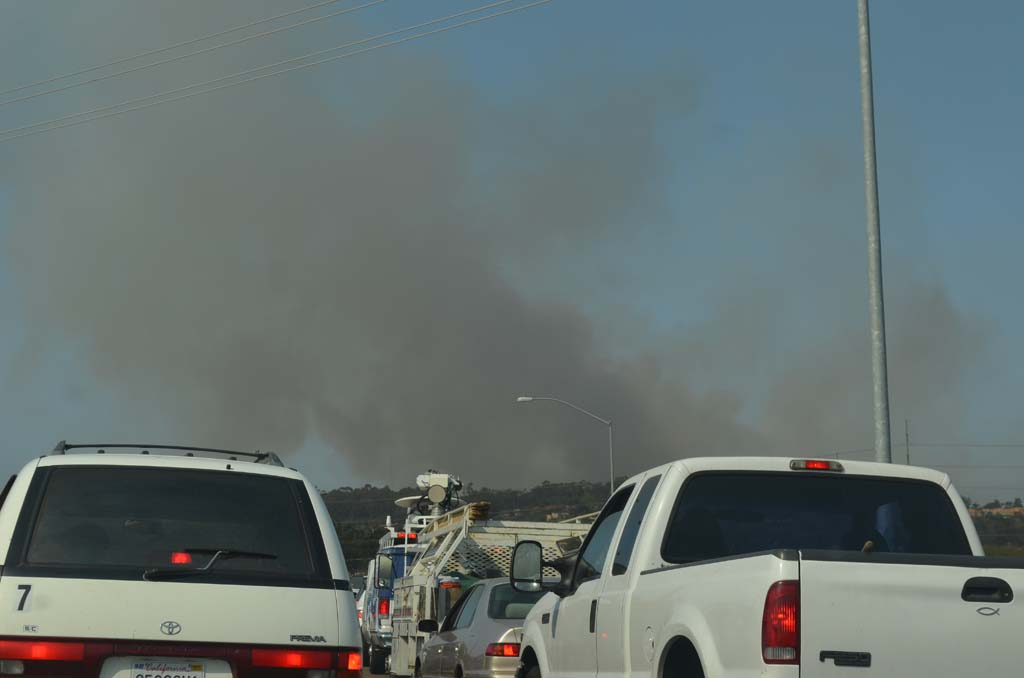 Evacuations prompted by the Bernardo Fire, which began on Tuesday, caused gridlock on area streets in North County. The fire is now 25 percent contained. Photo by Tony Cagala