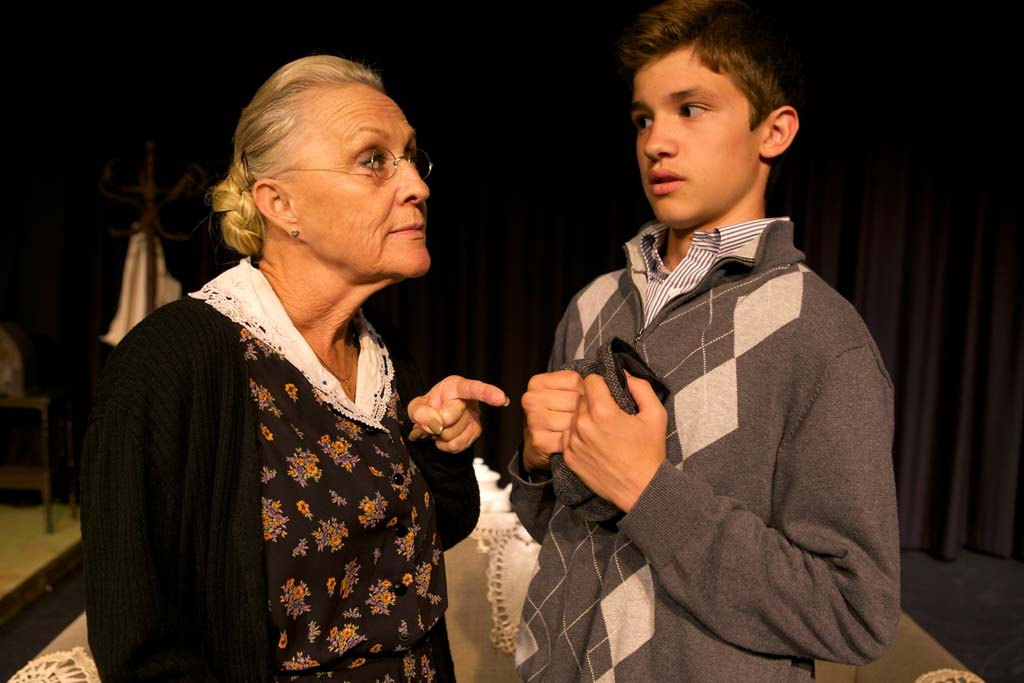 """Grandma Kurnitz (Dagmar Fields) and Jay (Aidan Hayek) in the production of """"Lost in Yonkers,"""" at the Brooks Theater in Oceanside. Photo by Aaron Rumley"""