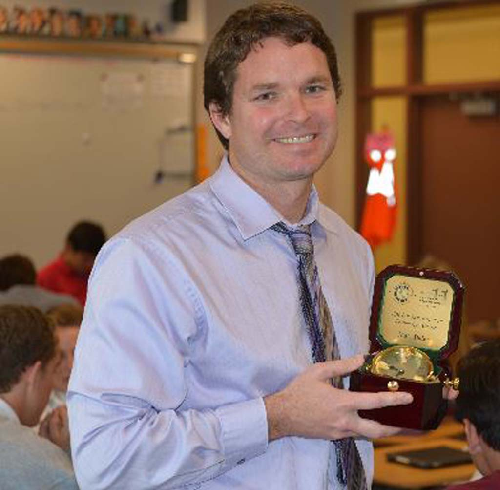 Matt Baier, an advanced placement U.S. government teacher at Cathedral Catholic High School, received an Innovation in Education Award for his work and leadership in integrating technology into classroom learning. Courtesy photo