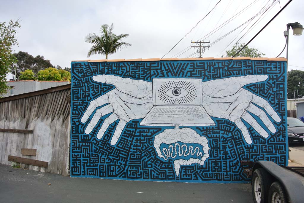 Mural by Bleu Avina, located on a private wall in Leucadia. Photo by Yeshe Salz