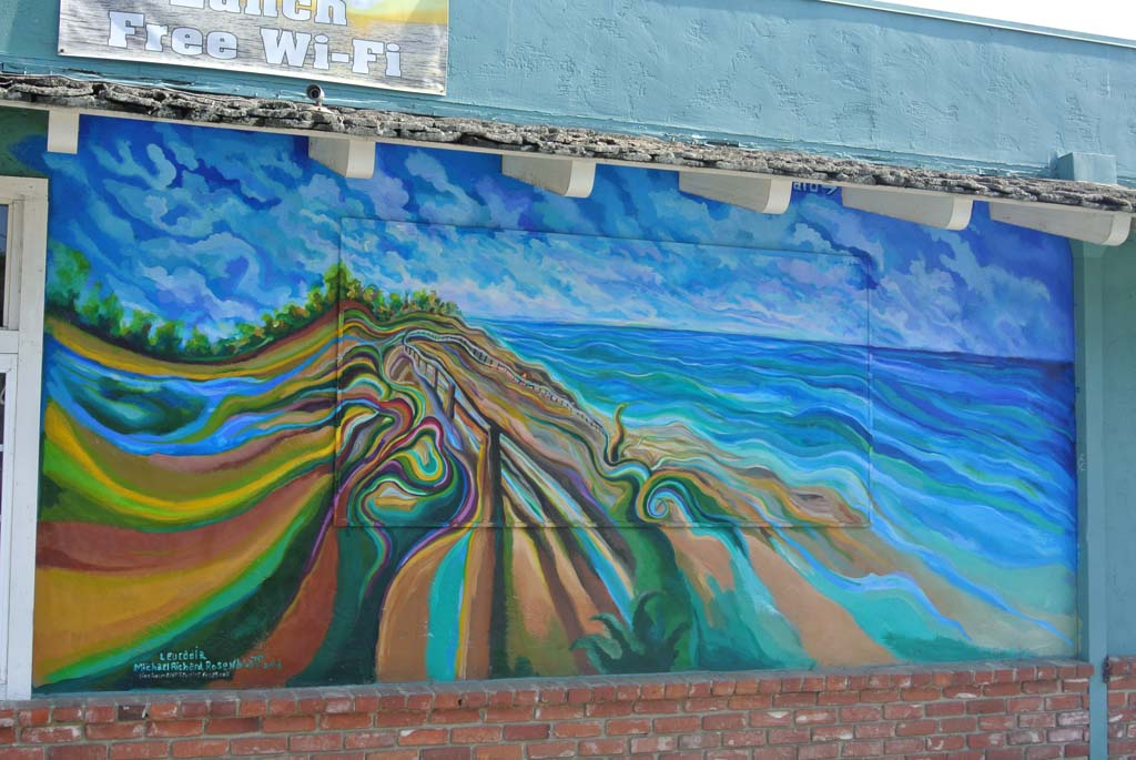 Mural by Michael Richard Rosenblatt, 2013. Mural can be found on the north wall of a Little Moore Coffee Shop, Leucadia. Photo by Yeshe Salz