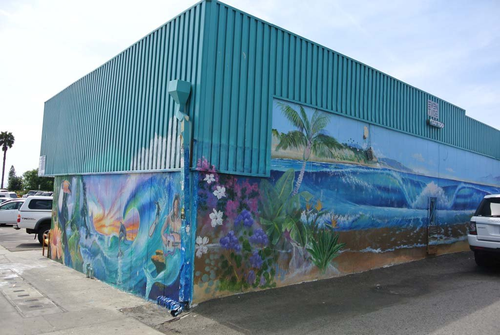 Mural by Kevin Anderson, 2001. Mural can be found on the back wall of Eventide Tattoo. Photo by Yeshe Salz