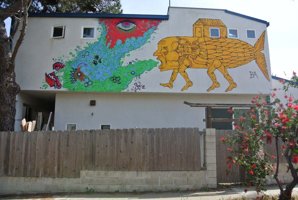 Mural by Shane Donaldson and Bleu Avina, 2012. Mural can be found on a private home in Encinitas. Photo by Yeshe Salz