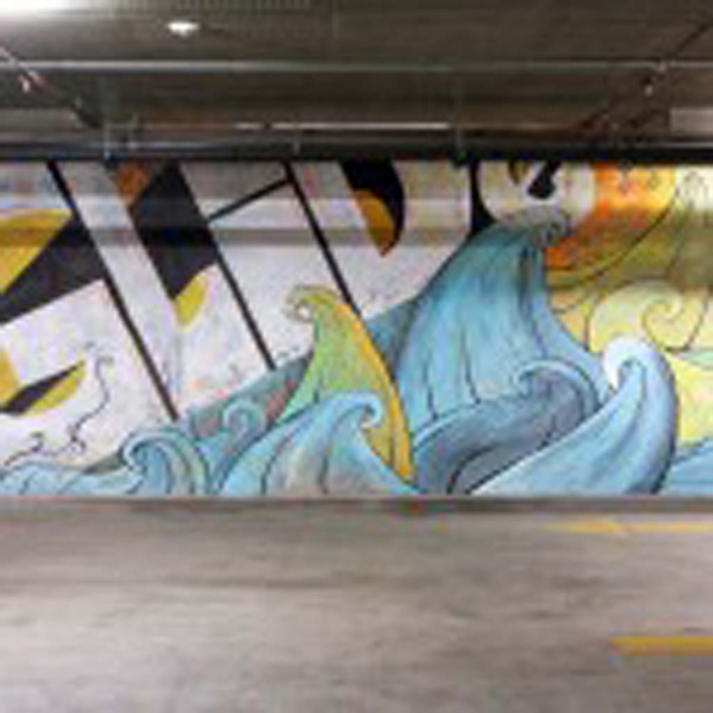Mural by Skye Walker in the Encinitas Whole Foods Parking Garage. Photo Skye Walker