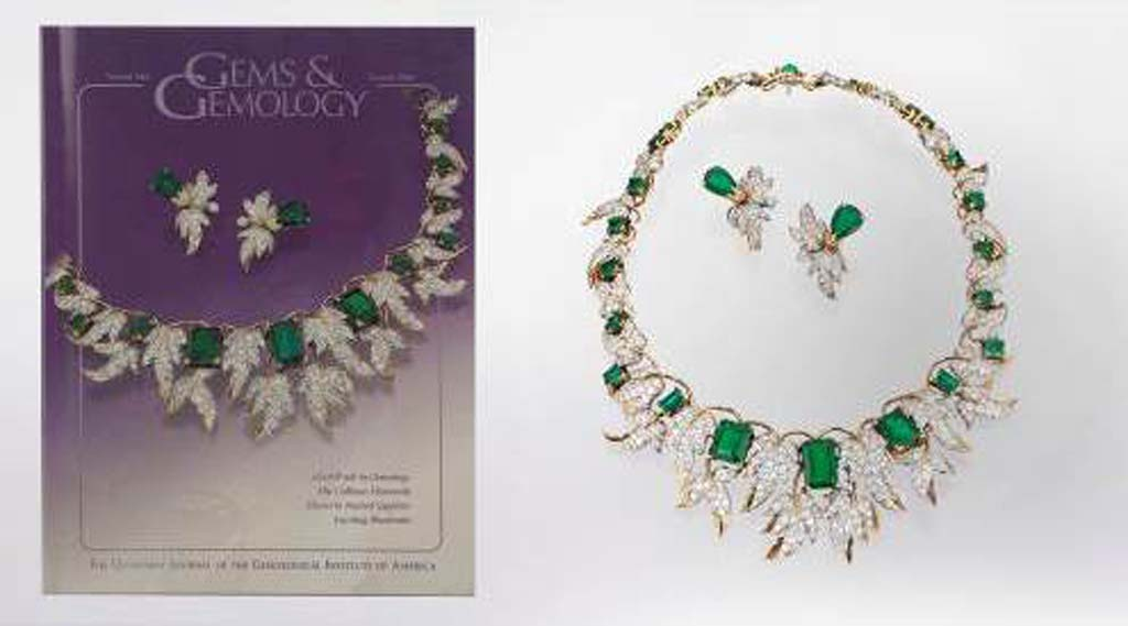 A photography and gem exhibit at the Gemological Institute of America in Carlsbad will include this Colombian emerald and diamond necklace with matching earrings designed by Jean Schlumberger for Tiffany & Co. in the 1950s.  Photo by Orasa Weldon; © GIA.