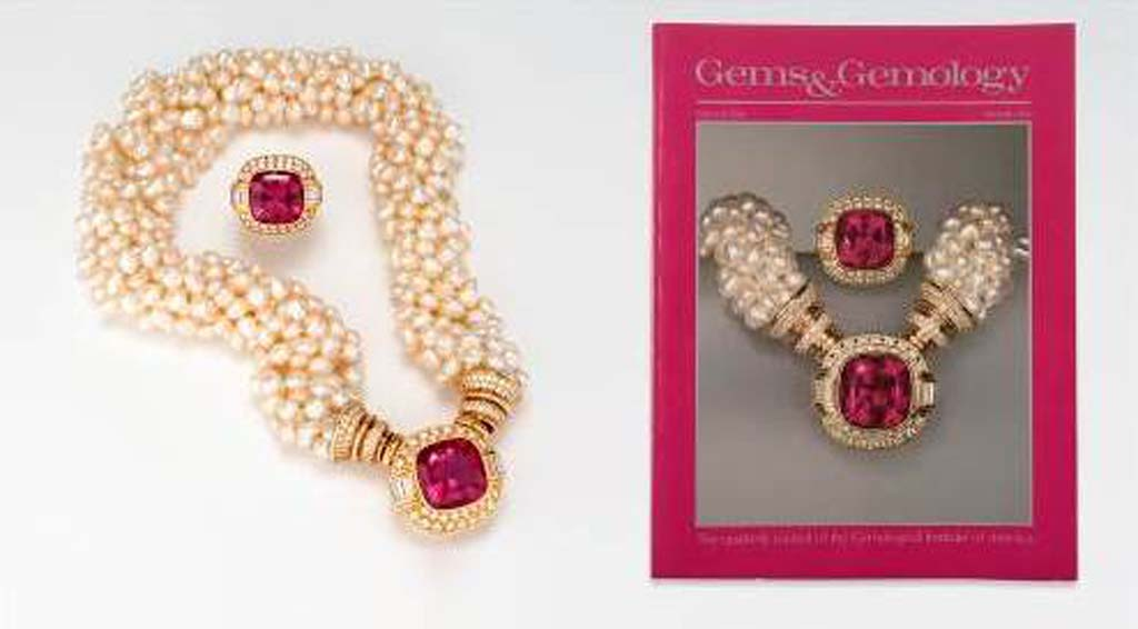 A photography and gem exhibit at the Gemological Institute of America in Carlsbad will include this intense rubellite ring (13.8 carats) and necklace (18.5 carats) – both designed by Jeanne Larson – from the Tourmaline Queen Mine in San Diego County.  Photo by Orasa Weldon; © GIA