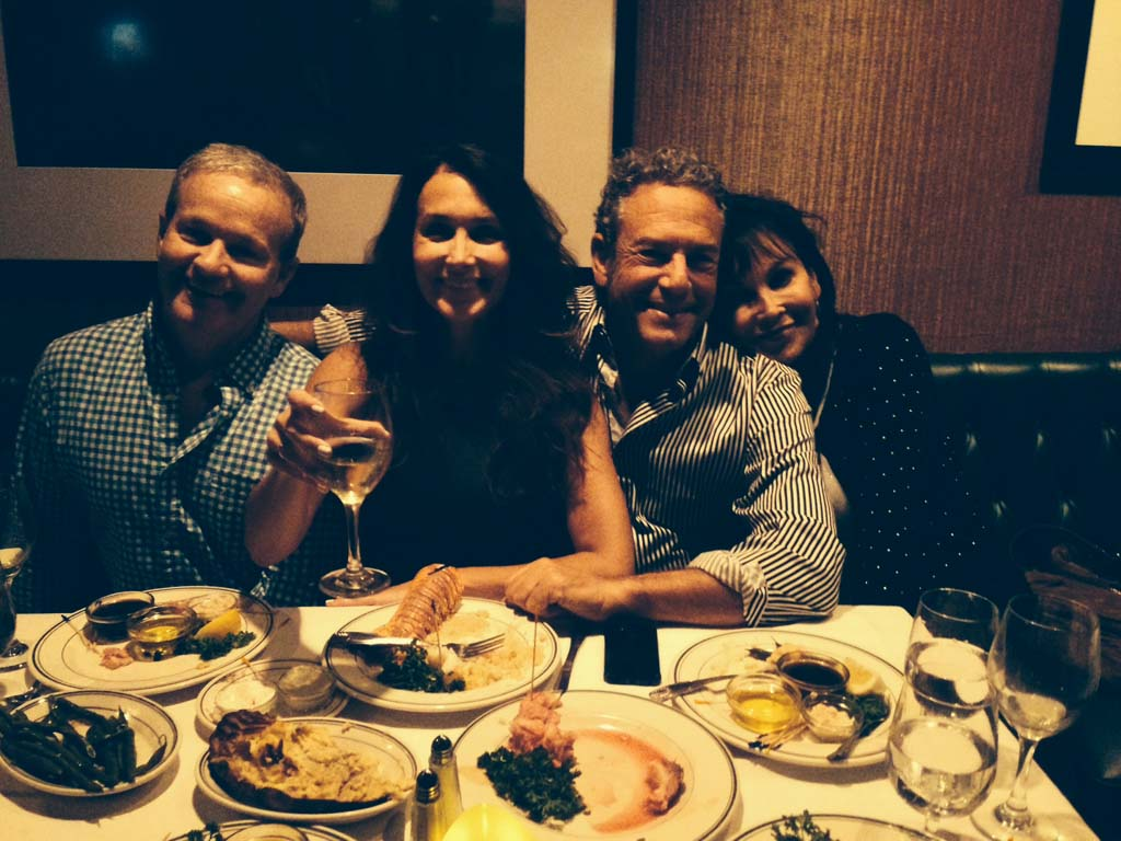 """David Boylan, Harley and Michelle Feinstein and Tracy Tracton enjoying diner at Red Tracton's"""" Photo courtesy Lick the Plate"""