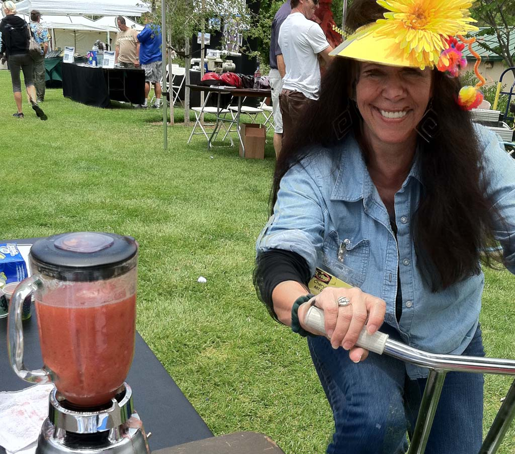 Encinitas Environment Day will be June 8 at Cottonwood Creek Park. The free event, which started in 2007, hosts several activities and eco-friendly themes, including making smoothies by pedaling a bike, as pictured above. Courtesy photo
