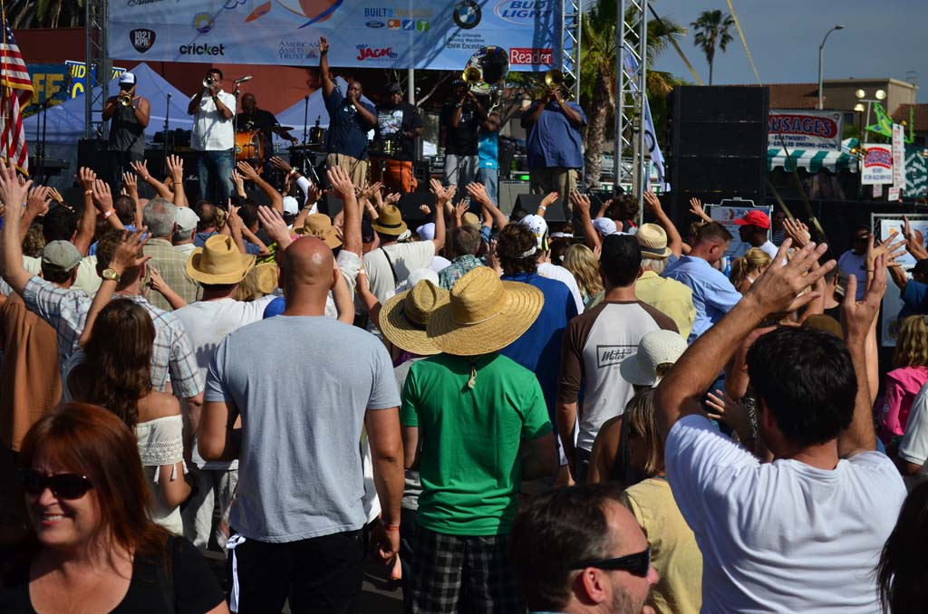 Crowds listen to the New Orleans-based jazz band The Soul Rebels on Saturday afternoon. Photo by Tony Cagala