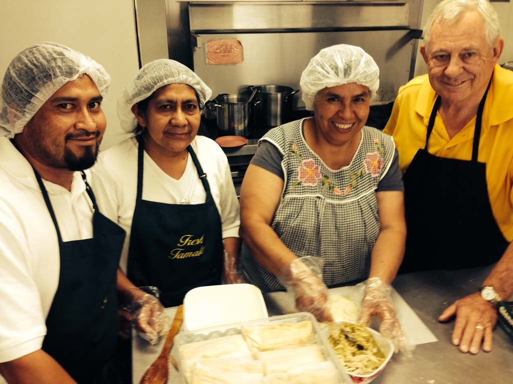 The crew from Fresh Tamales cooking up a fresh batch of tamales. Photo David Boylan