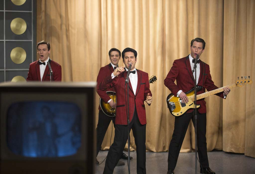 """From left: Bob Gaudio (Erich Bergen), Frankie Valli (John Lloyd Young), Nick Massi (Michael Lomenda), and Tommy DeVito (Vincent Piazza) in director Clint Eastwood's """"Jersey Boys."""" Photo by Keith Bernstein"""