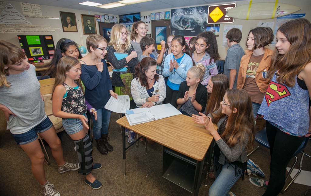 After months of research, La Costa Heights Elementary School sixth-grade students are ready to present a Storm Water Pollution Prevention Plan to Encinitas Union School District Board of Trustees. Courtesy photo