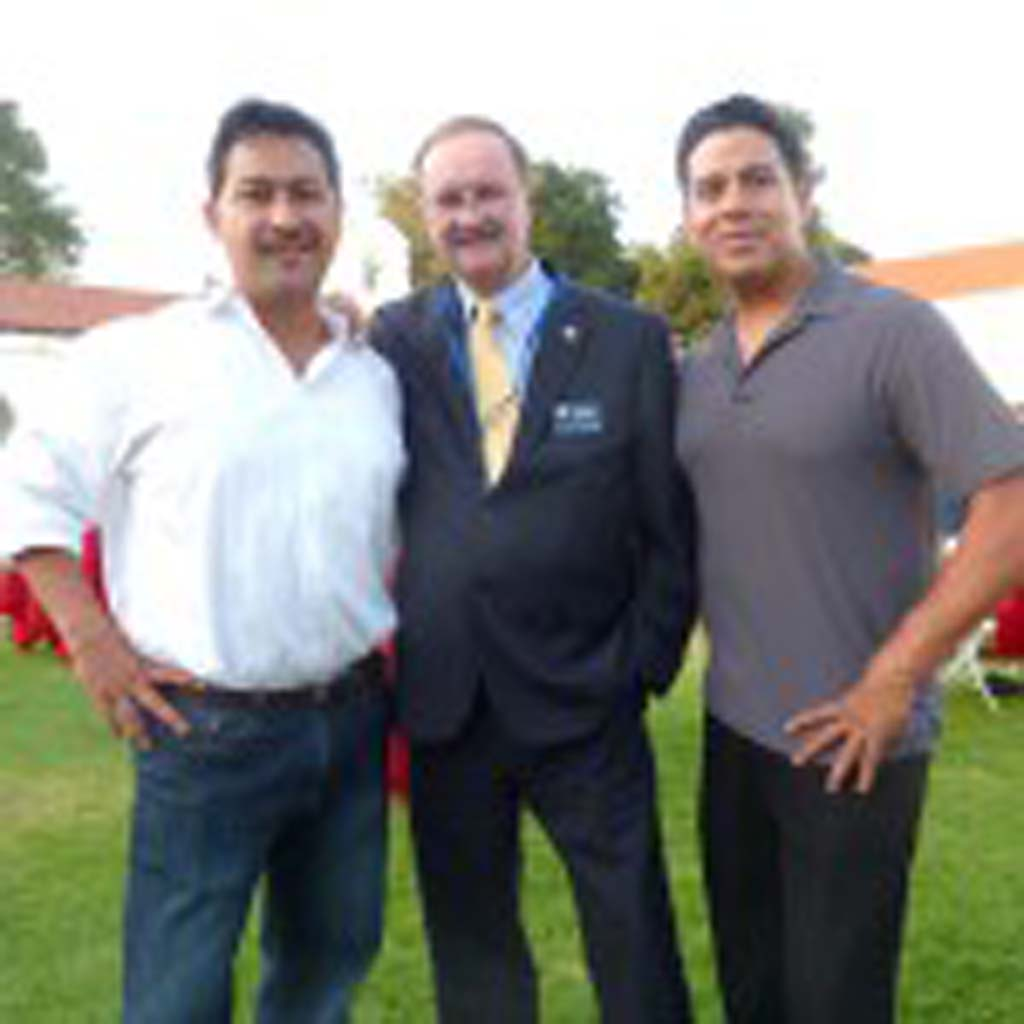 Charlie Plummer of Jackson Family Wines, Jim Wood, Mayor of Oceanside and Mike Medina, Director of Entertainment at the Night at the Mission event.