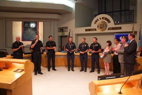 Firefighters recognized for performing complicated delivery