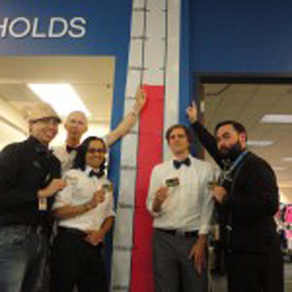 Losing (yet winning) the Checkout Challenge to reach one million checkouts for the fiscal year, five library staff, from left, Daniel Aguilar, Richard Park, Hector Ortega, Kris Jorgenson, and JP Baker join Library Director José Aponte for a Mohawk haircut. courtesy photos