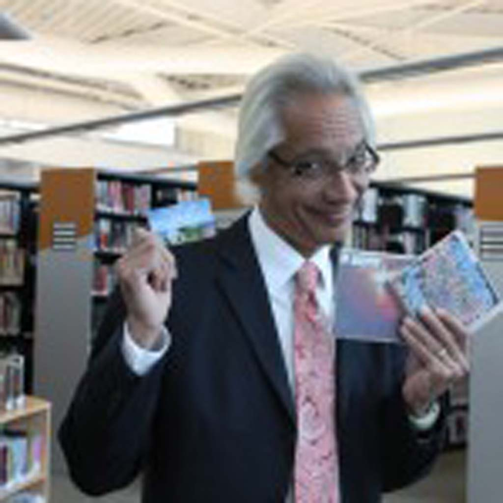 Losing (yet winning) the Checkout Challenge to reach one million checkouts for the fiscal year, San Diego County Library Director José Aponte agreed to sport a Mohawk haircut.