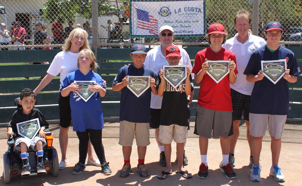 La Costa Youth Organization winners of this year's Mitchell Thorpe award, from left, are Josiah Searle, and KC Franey from the Champion League, with Owen Nishimura, Nathan Weatherton, Max Gruber and Kenny Keese.