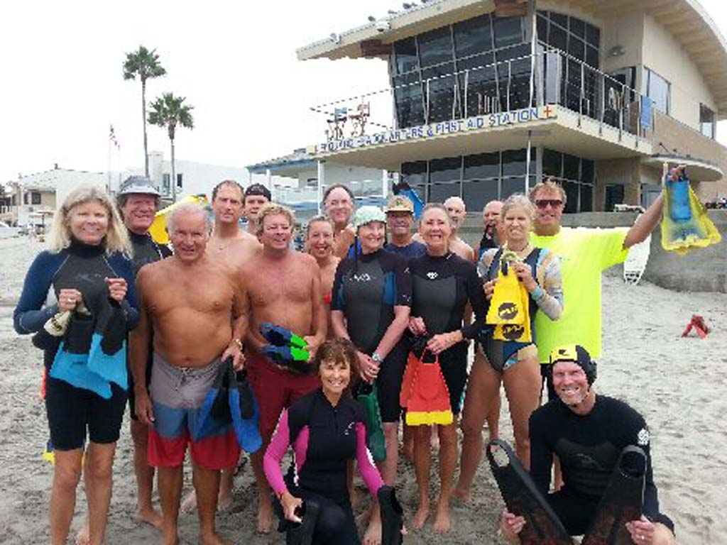 Members of the Del Mar Bodysurfing Club gather every weekend at 9 a.m. at 17th Street in Del Mar.