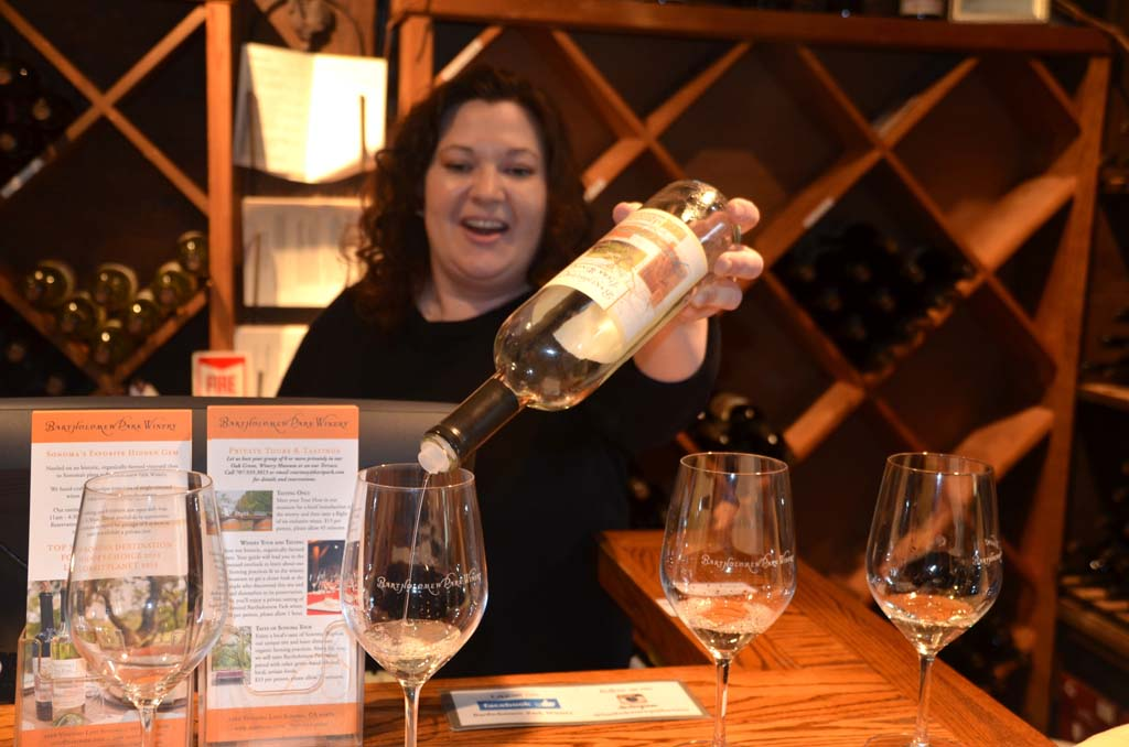 Courtney Miller keeps visitors entertained at the Bartholomew Park Winery tasting room explaining the history of the vineyard and the qualities of the half-dozen wines offered by the boutique winery, which is just a few minutes from Sonoma's town square.