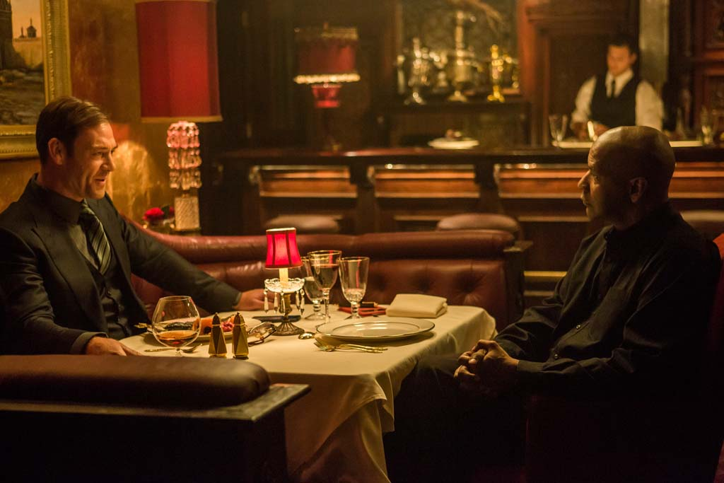"Teddy (Marton Csokas) left, and McCall (Denzel Washington) in ""The Equalizer."" Photo by Scott Garfield"