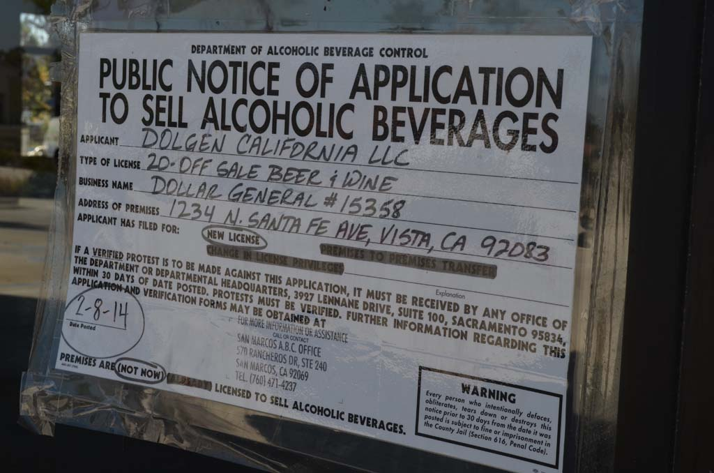 The vacant 10,000 square-foot lot on N. Santa Fe Avenue may remain vacant longer after the Vista City Council denied a special use permit for a potential bargain basement store to open and sell alcohol. Photo by Tony Cagala