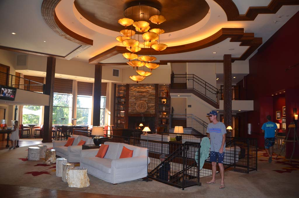 The spacious lobby of the Lake Arrowhead Resort and Spa is at once contemporary, warm and welcoming. The resort recently underwent a $12 million renovation and is open year-round.