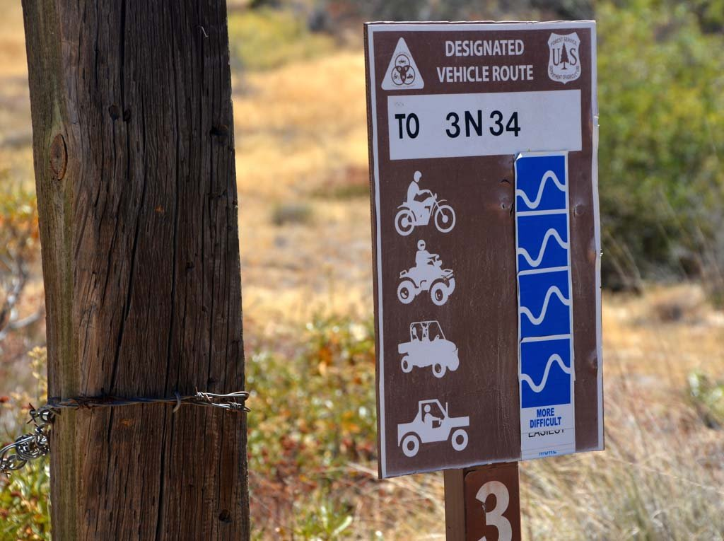 Signs on Lake Arrowhead's hilly, rocky and sometimes rutted dirt roads indicate the difficulty of the ride for various all-terrain vehicles, which are not allowed to ride off-road.