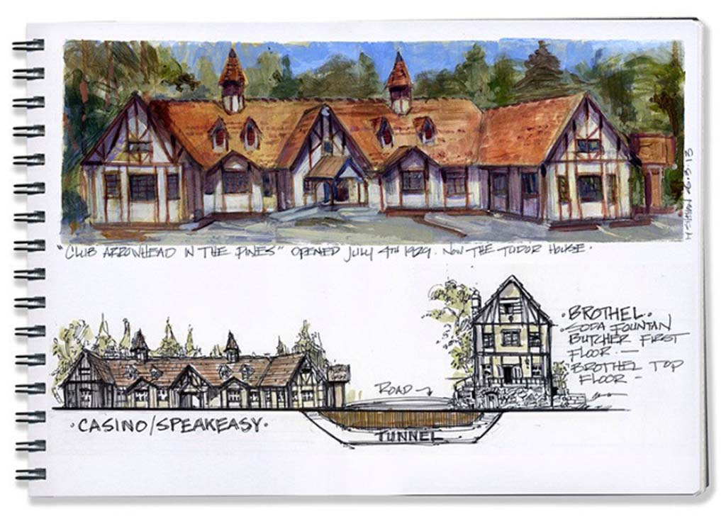 """Lake Arrowhead artist, illustrator and writer Mike Sheehan lives in the same neighborhood as mobster Bugsy Siegel's former speakeasy, casino and brothel. This is Sheehan's illustration of Siegel's """"Club Arrowhead of the Pines,"""" which opened in 1929 and featured a tunnel to a brothel. Today it is the Tudor House, which features music and theater. Sheehan tired of living in Los Angeles where he worked for Disney Enterprises, then moved to Lake Arrowhead because of fond childhood memories of the area. Photo Courtesy of Mike Sheehan"""