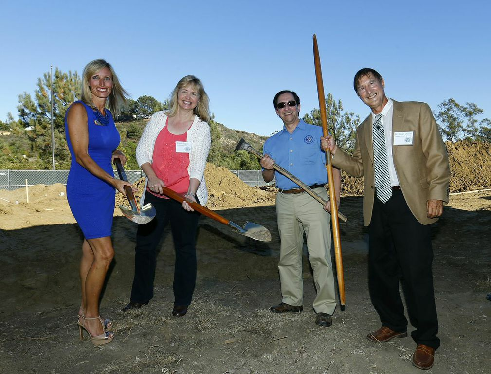 From left, Encinitas Mayor Kristin Gaspar, Arc Campaign Chairwoman Carol Higgins, Grauer Board of Trustees Chairman David Meyer, and Founding Head of School Stuart Grauer, shovel the first round of dirt at The Grauer School's Aug. 23 groundbreaking. Phase III of campus construction will become the updated home to 10,000 square feet of eco-friendly classrooms, including new spaces for the English, mathematics and the Loewy-Linz Innovation Lab. The update to the 1500 S. El Camino Real campus is not an expansion, but it is a conversion of temporary facilities into permanent structures.