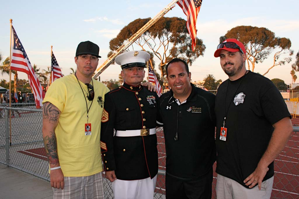 From left: Active duty military Ben Soto, former Marine Tim Chambers, Honor Group founder Mark Soto, and active duty military Joshua Soto at the Honor Bowl. The event honors military veterans. File photo by Promise Yee