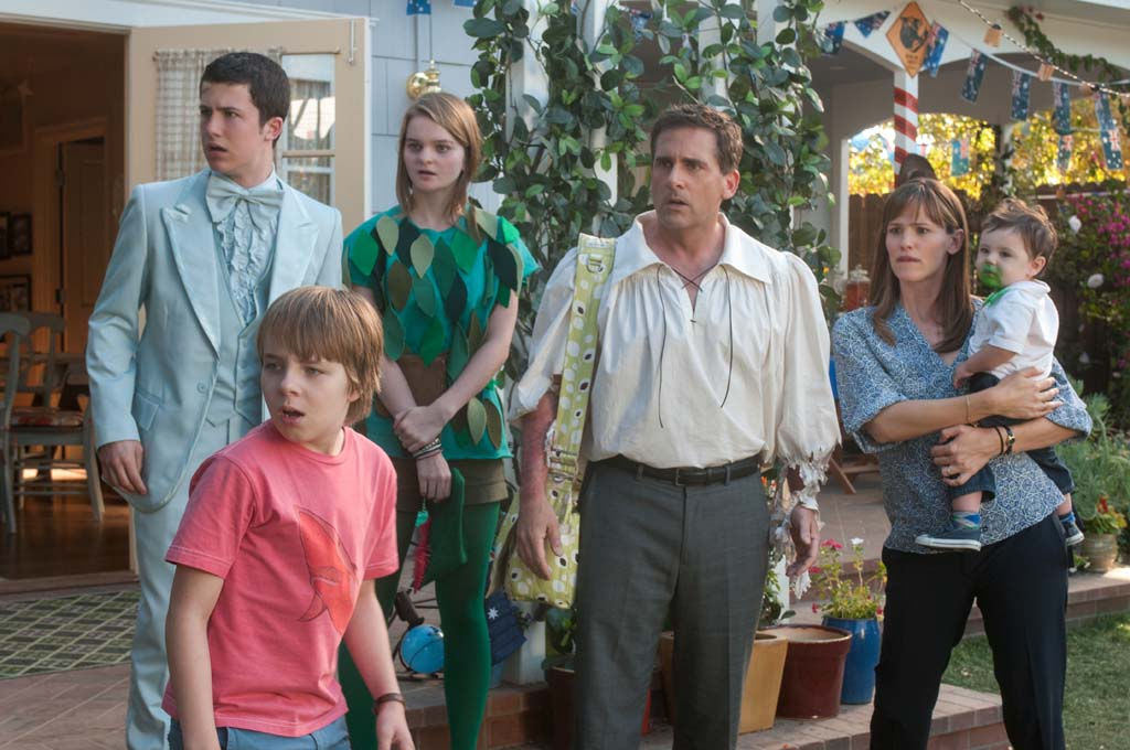 """Alexander's not the only one having a bad day in """"Alexander and the Terrible, Horrible, No Good, Very Bad Day."""" Starring, from left: Dylan Minnette, Ed Oxenbould, Kerris Dorsey, Steve Carell, Jennifer Garner and Zoey/Elise Vargas. Photo by Dale Robinette"""
