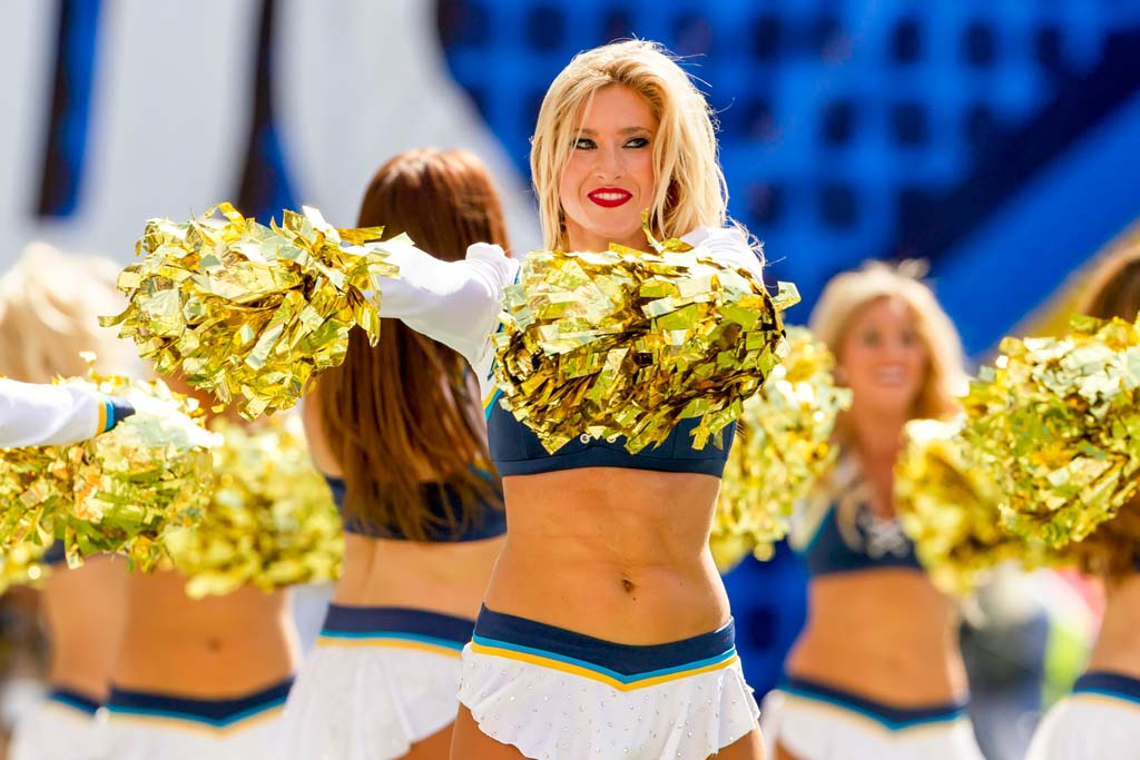 Chargers Girls perform during Sunday's game between the Kansas City Chiefs and the San Diego Chargers at Qualcomm Stadium. Photo by Bill Reilly