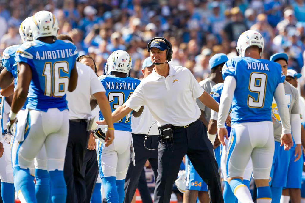 San Diego head coach Mike McCoy congratulates the kicking team after kicker Nick Novak kicked a field goal. Photo by Bill Reilly