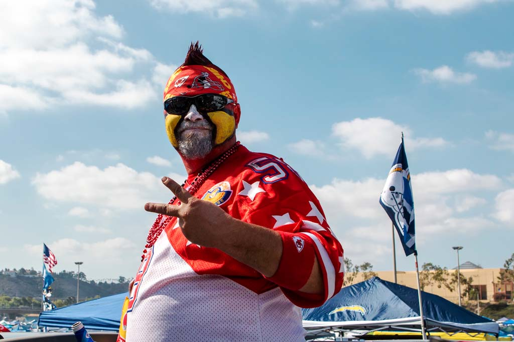 Kansas City Chiefs fans come out to support their team during Sunday's game between the Kansas City Chiefs and the San Diego Chargers. Photo by Bill Reilly