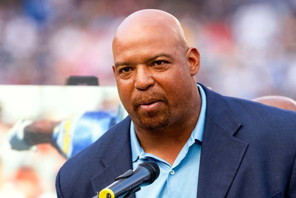 Former San Diego Charger defensive end Leslie O'Neal is inducted into the Chargers Hall of Fame at halftime during Sunday's game. Photo by Bill Reilly