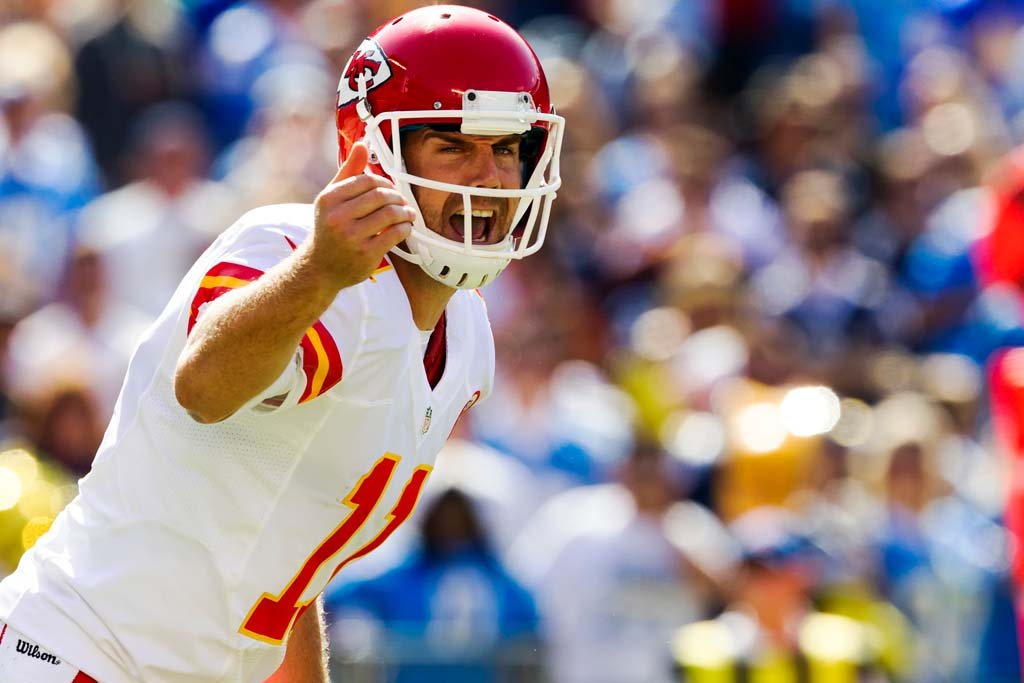 Kansas City Chiefs quarterback Alex Smith changes the play at the line of scrimmage. Photo by Bill Reilly