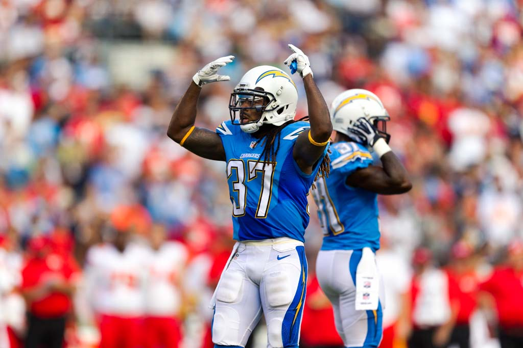 San Diego safety Jaheel Addae encourages the crowd to get loud. Photo by Bill Reilly