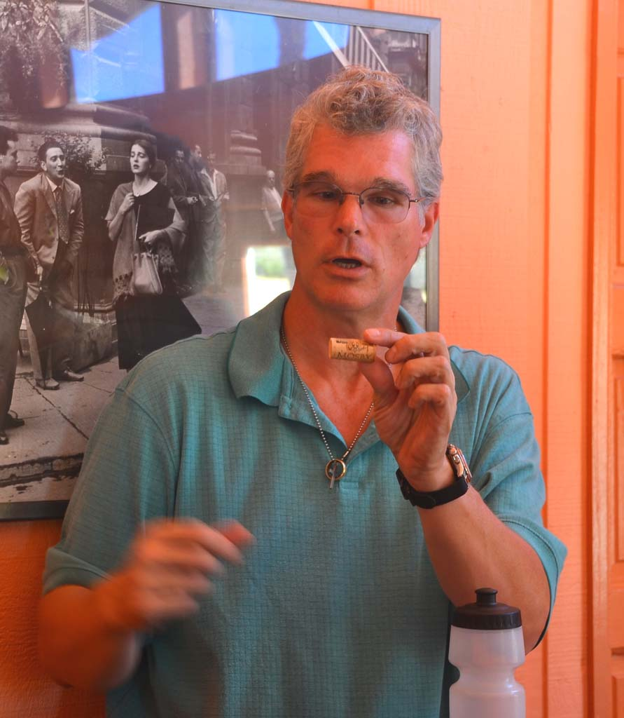 Kurt Kummerfeldt, a tour guide with Stagecoach Co. Wine Tours in Santa Ynez Valley, explains the pros and cons of various types of corks and screw tops. He is a wealth of information on the art of making wine, local wineries and vineyards, and food-and-wine pairing.