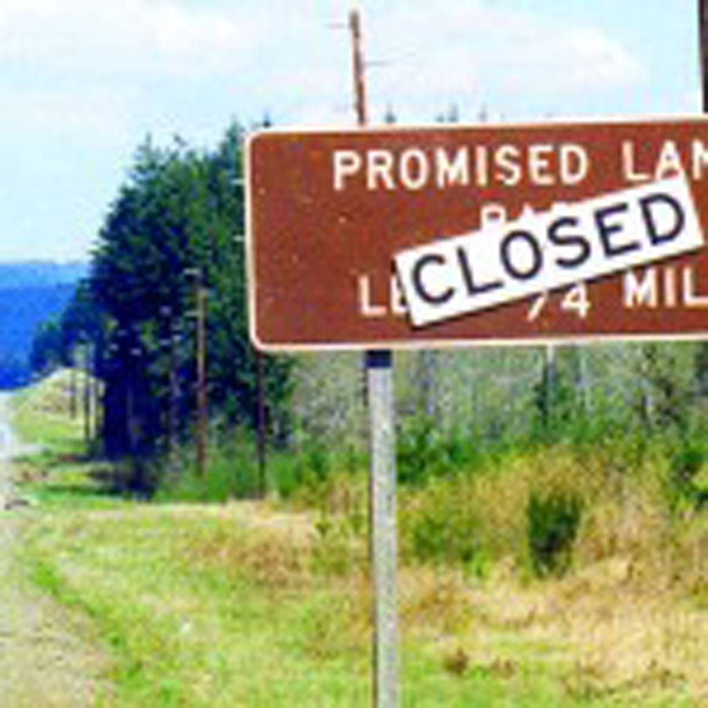 Promised land - All traffic will be temporarily rerouted through Mecca. Seen on the Olympic Peninsula, Wash. (Photo by Doug Lansky/Ted Johnson)