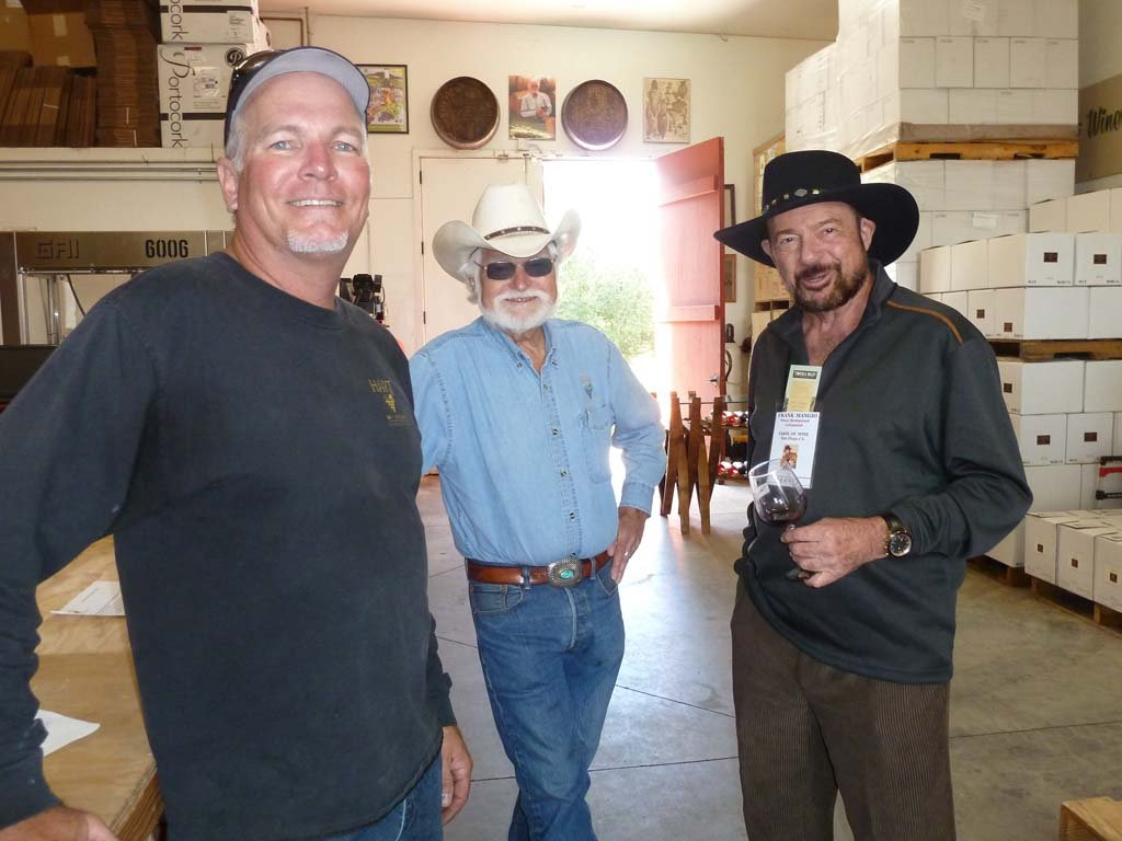 Temecula's Hart Winery winermaker is Jim Hart. Also shown is founder Joe Hart and Frank Mangio, Taste of Wine columnist. Photo courtesy Frank Mangio