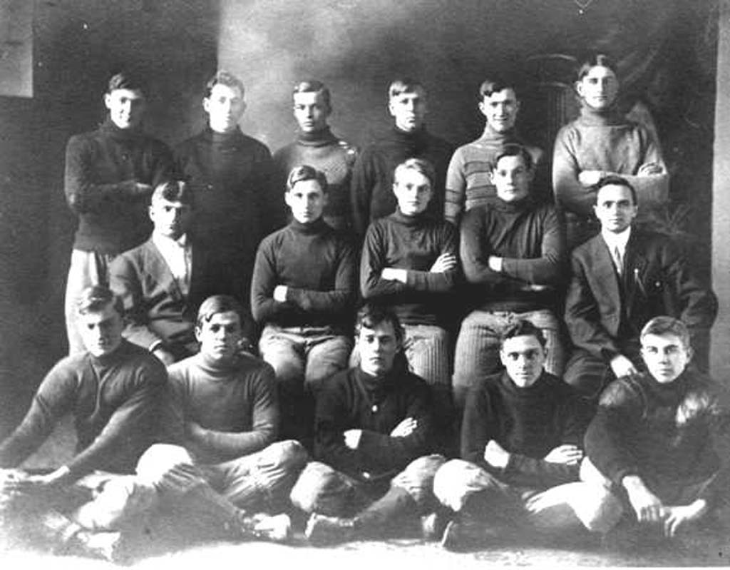 The 1910 Abilene High School football team included Dwight Eisenhower (top row, third from left) and Ralph Lucier (top row, far left), grandfather of E'Louise Lucier Ondash. (Courtesy Photo)