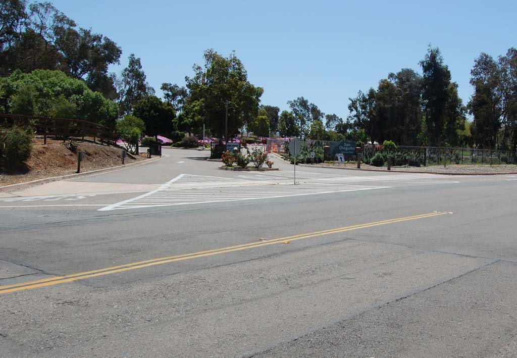 The vehicle entrance to San Dieguito County Park is currently the only access point. That will soon change as Solana Beach and the county, in which the park is located, agreed to add a pedestrian access gate along Highland Drive, to the right of the current entrance. Photo by Bianca Kaplanek