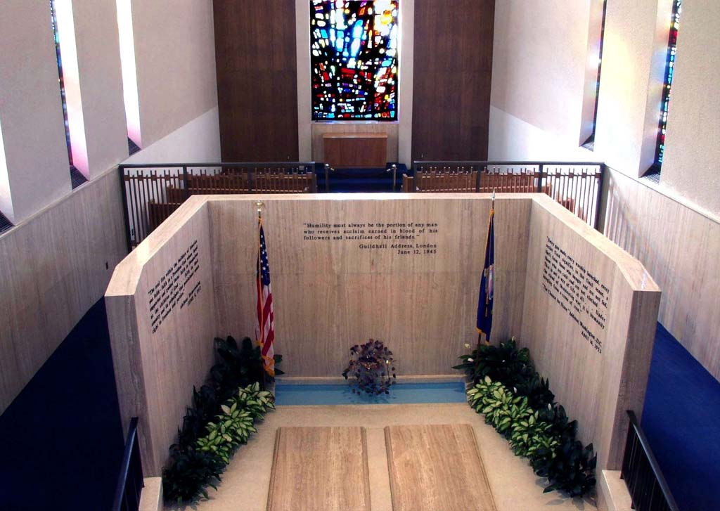 "Dwight D Eisenhower (1890-1969) is buried with his wife, Mamie Doud, and toddler son on the grounds of the Eisenhower Presidential Library, Museum and Boyhood Home in Abilene, Kan. After serving as commander of Allied Forces in World War II – he orchestrated and oversaw D-Day in 1944 - ""Ike"" was elected president in 1952. He left office after two terms. Between the war and the presidency, Eisenhower was president of Columbia University and assumed command of the newly created NATO forces in 1951. More than once Eisenhower announced he had no use for politics. (Photo courtesy of the Eisenhower Presidential Library)"