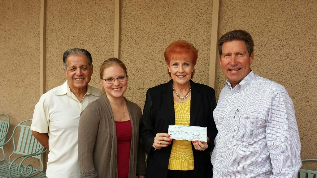 From left, Don Diego Scholarship Foundation Vice Chairman Jon Liss and Board Member Alysha Stehly thank Board Member/Charity Horse Show President Susan Farrior for her recent donation to the scholarship fund, joined by Don Diego Scholarship Foundation Chairman Paul Ecke III. Courtesy photo