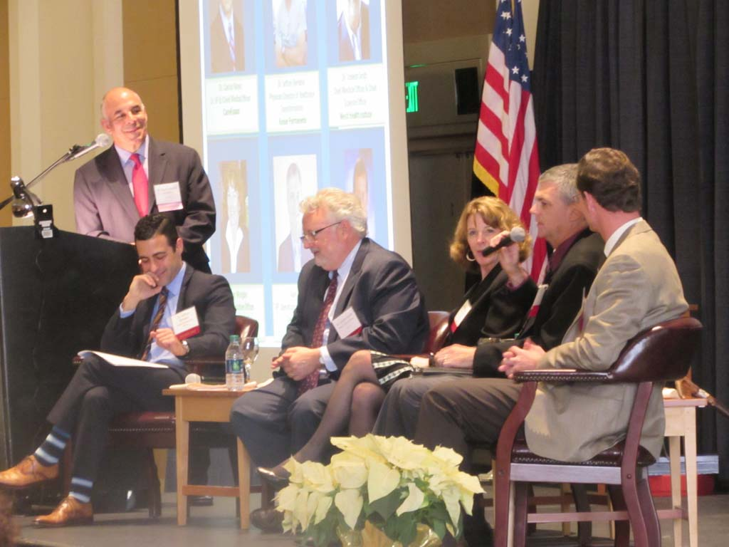 From left, moderator Carlos Nunez, Dr. Jeffrey Benabio, Dr. Joseph Smith, Ellen Morgan, Alan Kneale, and James Kasselman discuss trends in the biomedical field and what officials in the region can do to influence growth. Photo by Ellen Wright