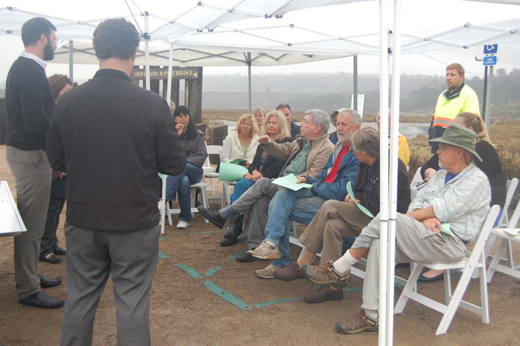 About a dozen residents attended the first workshop to garner input for plans to extend the River Path Del Mar. Photo by Bianca Kaplanek