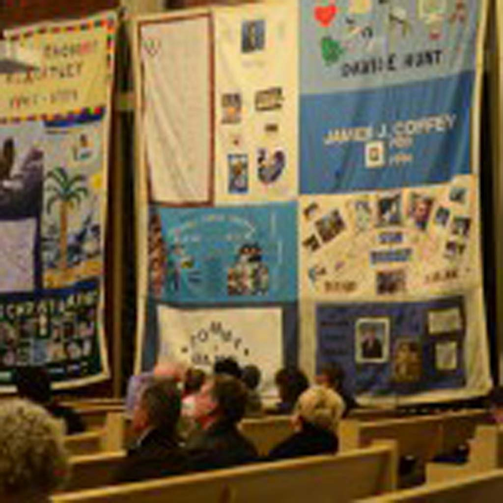 The AIDS Memorial Quilts are on display at the Pilgrim United Church of Christ in Carlsbad. Photo by Tony Cagala