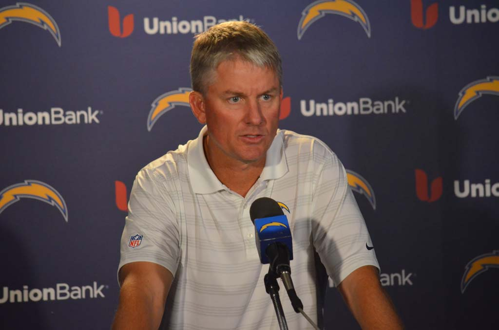 "San Diego Chargers head coach Mike McCoy says Saturday's game against the San Francisco 49ers is the ""biggest game of the year."" The Chargers will have two win their final two games and receive a lot of help from other teams if they want to make the postseason this year. Photo by Tony Cagala"
